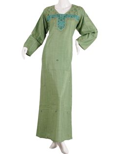 "aljalabiya.com: ""Sweet Pea"" Striped cotton jalabiya with machine embroidery (N-9879)  $49.00"