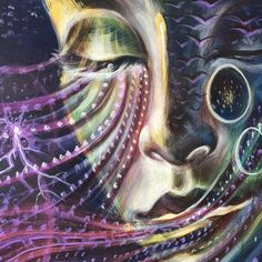 Diving back into the past... Each piece is filled with memories... Have you ever found that when you work on a piece you haven't touched in a while that thoughts and quite random things that were happening while you were painting then, pop up again... I even have smells unlock... Is like magic:):) this is a detail from a live painting early this year in Hollywood for Gem & Jam pre-party #livepainting #memory #gemandjam #painting #hollywood