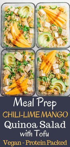 Sweet and spicy, tangy and luscious. This healthy vegan meal prep bowl is everything! Sweet mango with tangy lime and spicy chili powder, crunchy cucumbers, creamy avocado, tangy protein-rich tofu, and hearty quinoa. I'm happy to have this lunch on repeat all week long. #Vegan #lunch #Tofu #mango #mealprep #quinoa #quick #easy via @abrapappa