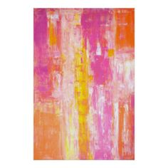'Candy Land' Pink and Orange Abstract Art Poster