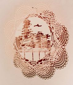 doily art of @Lynne {Papermash} Mori; the dramatic series is called Doilies of Imminent Destruction