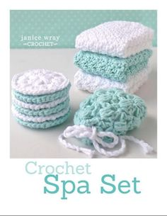 Set cloth–scrubby–soap saver Looking for your next project? You're going to love Spa Set cloth–scrubby–soap saver by designer Janice.Looking for your next project? You're going to love Spa Set cloth–scrubby–soap saver by designer Janice. Crochet Faces, Free Crochet, Knit Crochet, Learn Crochet, Crochet Scrubbies, Spa Items, Confection Au Crochet, Crochet Patron, Crochet Kitchen