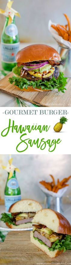 So good! Gourmet burger recipe with sausage, grilled pineapple, toasted coconut, avocado, jalapeno bacon, served on a brioche bun.