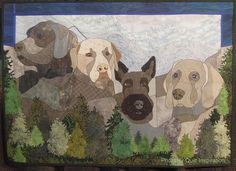 Quilt Inspiration: Mt. Ruffmore and more: the quilts of Pauline Salzman Mt. Ruffmore by Pauline Salzman, each dog is modeled on a president's dog