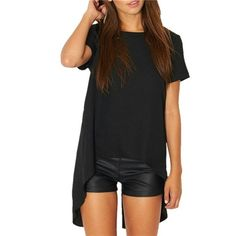 Short Sleeve Chiffon Split High Low Blouse Black, Short Sleeve, Chiffon, Split High Low, Round Neck Blouse. Size small. Polyester. 15% off two items or more.  Trades  PP. Reasonable offers always welcome Free shipping with orders over $75  Tops Blouses