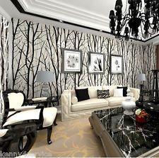 3DAbstract Forest Woods Trees Wallpaper Embossed Viny Black White Mural Decor