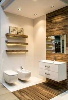 bathroom ideas tile wood look shelves led strip recessed ceiling- badideen fliesen holzoptik regale led streifen einbauleuchten decke bathroom ideas tile wood look shelves led strip … - Bathroom Toilets, Wood Bathroom, Bathroom Storage, Small Bathroom, Bathroom Ideas, Cabinet Storage, Cabinet Ideas, Bathroom Furniture, Towel Storage