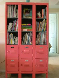 Lockers put to good use.  Like how they took some of the doors off for open shelving.-sue.