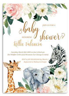 jungle baby shower invitation, zoo baby shower invitation, jungle animals, giraf… - All You Need To Know About Baby Shower Baby Shower Giraffe, Baby Shower Niño, Baby Shower Brunch, Baby Zoo, Baby Baby, Baby Girl Shower Themes, Baby Shower Invites For Girl, Invitaciones Baby Shower Niña, Babyshower Invites