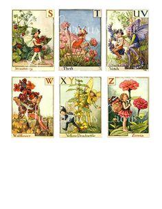 Vintage Alphabet Fairies Digital Collage by CuriousCrowDigital