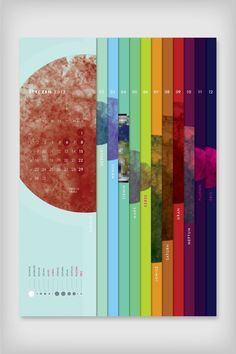 Calendar Planetarium by Emigo via Behance *not accurate to the planets - This is a cool calendar. I like the style of it, it is unique to other calendars and stands out. The pictures and colours used create a good effect as well.