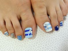 Blue Stylish Pedicure Nail Art Design