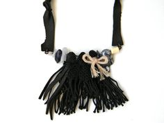 Black Tassel Necklace Leather tassel necklace Leather by Elyseeart
