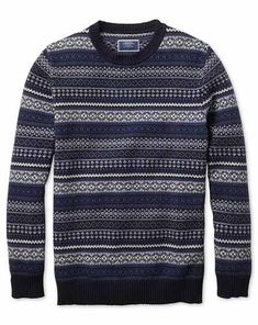 Buy our Navy and blue crew neck Fair Isle sweater exclusively from Charles Tyrwhitt of Jermyn Street, London. Grey Suit Shoes, Tuxedo Accessories, Charles Tyrwhitt, Sweater Shop, Jumper, Blue Crew, Suit Shop, Suit And Tie, Suit Fashion