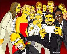 Matt Groening recreates Ellen DeGeneres' Oscar selfie as Simpsons characters.