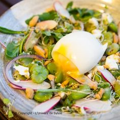 Salade de fèves, radis, mâche, roquette, oignon rouge, graines germés de soja, feta, oeuf mollet et amandes.