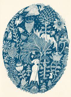 Coyote Atelier silkscreen inspiration: Melissa Castrillon's Botanical Bonanza, Single colour screen print in indigo blue.