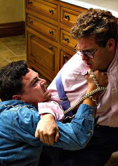Leonardo DiCaprio and Jonah Hill in The Wolf of Wall Street (Martin Scorsese, Really Good Movies, Great Movies, Jordan Belfort, Street Tattoo, Wolf Of Wall Street, Movie Shots, Funny Scenes, Martin Scorsese, Iconic Movies