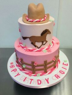 One tiered with horse on top - cowgirl birthday cake idea. Cowgirl Birthday Cakes, Birthday Cakes Girls Kids, Cowgirl Cakes, Horse Birthday Parties, Cake Birthday, Cake Kids, Country Birthday Cakes, Cowgirl Party, Pony Cake