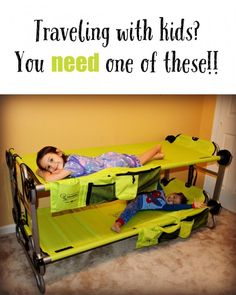 Ultimate Portable Bunk Beds For Kids Well this would be a handy thing for camping with kids or grandparents house with little ones.Well this would be a handy thing for camping with kids or grandparents house with little ones. Camping With Kids, Family Camping, Travel With Kids, Camping Gear, Camping Hacks, Camping Essentials, Camping Checklist, Camping Equipment, Camping Supplies