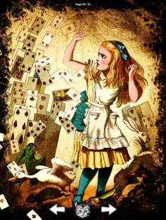 Alice fighting off a pack of cards belonging to the Red Queen
