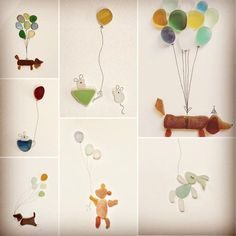 Seaglass balloon animals #seaglassart #seaglass #cute #seaglassobsession