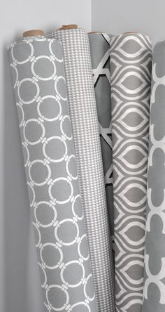 Gray Premier Prints in geometric, houndstooth and quatrefoil designs
