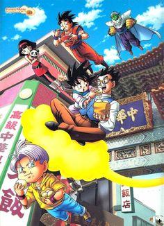 Goku, Goten, Trunks, Gohan, Piccolo and Videl