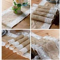 """Color: Khaki Burlap+White Lace Materiel: Natural hessian Burlap and Lace  Size: Approx.30cm(12"""")*180"""