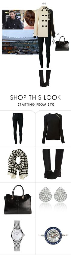 """""""Flying to Stockholm with Gustaf"""" by hrhprincessamelia ❤ liked on Polyvore featuring BLK DNM, Balmain, Hat Attack, Aquatalia by Marvin K., Tod's, Monica Vinader and Emporio Armani"""