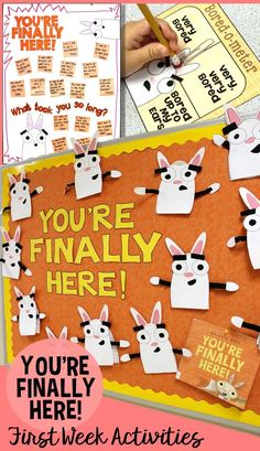 Have the best first week of school ever with the book, You're Finally Here!, by Melanie Watt. See all the fun ways we used this back to school book companion on the blog. My students loved the getting to know you games, first day writing, goal setting, and the first day of school photo booth!