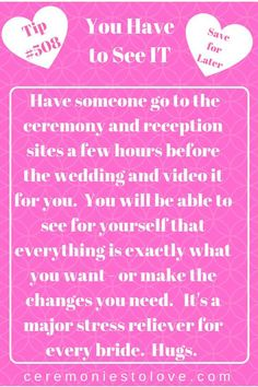 Relieve your wedding day stress by ing this helpful tip. You will relax when you know that all your wedding planning has been worth the works and your dream wedding ceremony and reception settings are exactly want. Wedding Advice, Wedding Planning Tips, Plan Your Wedding, Budget Wedding, Destination Wedding, Wedding Hacks, Event Planning, The Plan, How To Plan