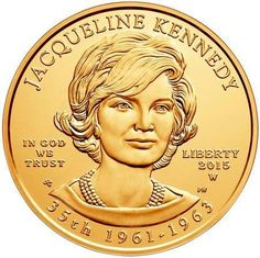 The 2015 Jacqueline Kennedy One–Half Ounce Gold Uncirculated Coin is the third release in the 2015 First Spouse Gold Coin Series. This gold coin is one-half ounce of gold minted with a uncirculated finish, giving it a satin-like appearance. Gold Bullion Bars, Bullion Coins, Silver Bullion, Los Kennedy, Jackie Kennedy, Jaqueline Kennedy, Coin Design, Gold And Silver Coins, Uncirculated Coins