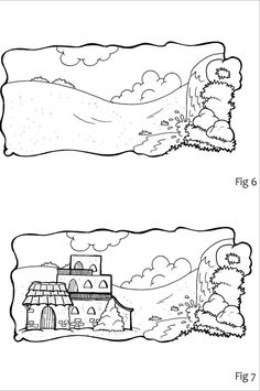 Printable Coloring Page House on Rock and Sand Sheet