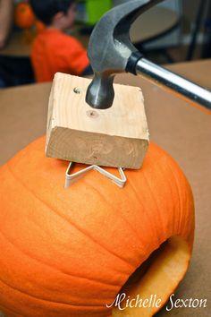 Carving a pumpkin using a cookie cutter