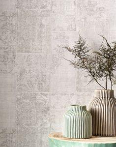 Vliesbehang FAJAH met lichtgrijze patchwork-look print #behang #muurdecoratie #opdemuur #kwantum #patchwork #interieur #wonen