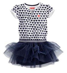 Z8 jurk met all over hartjes, model Cassie. Het rokje van deze jurk is van tule. Navy - NummerZestien.eu