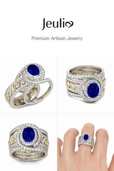 Interchangeable Intertwined Blue Wedding Ring Set For Women Halo Oval Cut Created Sapphire Sterling Silver. Explore More Side Stones & Halo & Interchangeable Bridal Sets at JEULIA. Get Off with Only Today. Shop Now>> Blue Wedding Rings, Wedding Set, Wedding Bands, Stone Wrapping, Stylish Jewelry, Anniversary Rings, Beautiful Rings, Ring Designs, Necklace Lengths