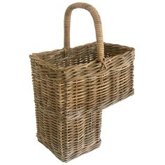 Classic wicker Stair Basket made from sturdy grey rattan with handle. Ideal for keeping hallways and landings tidy. See our full range of Storage Solutions.