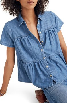2d3f4fca09 Free shipping and returns on Madewell Seamed Button Down Denim Shirt at  Nordstrom.com.