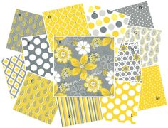 Super cute nursery prints in Gray and Yellow.  *Custom crib bedding by Burps n' Giggles