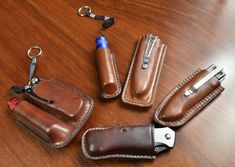 Folding Knife, Tool and Torch Pouches Leather Holster, Leather Key, Leather Tooling, Edc Everyday Carry, Knife Sheath, Leather Pattern, Leather Projects, Leather Accessories, Leather Craft