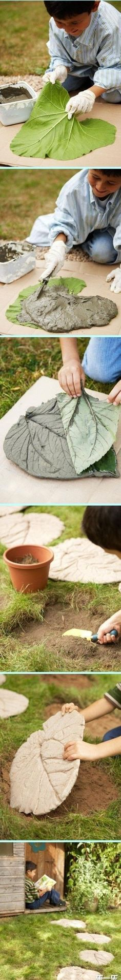 DYI homemade garden decorations projects ideas rhubarb leaf concrete stepping stones
