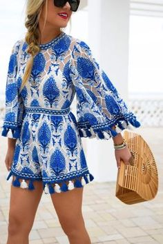 White, blue and tassels.
