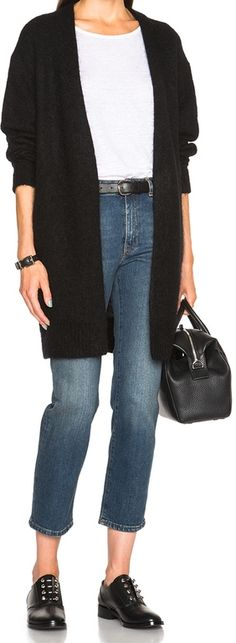 Acne Studios Raya Short Mohair Sweater + pair of dark wash jeans + black accessories + white tshirt = style