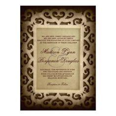 Vintage Swirl Frame Rustic Country Wedding Invitations