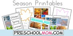 Free Four Seasons Printables from Preschool Mom!  Wordwall cards, Printable Charts, File Folder Games, Handwriting Worksheets, Classroom Charts and more!