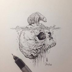 Creative artist Kerby Rosanes, an illustrator based in Manila, Philippines. Kerby Rosanes uses ink primarily in their drawings. For more drawings →View Website Drawing Sketches, Cool Drawings, Skull Drawings, Stylo Art, Fantasy Kunst, Pen Art, Doodle Art, Art Inspo, Illustration Art