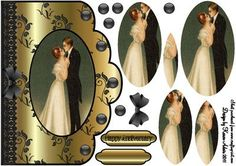 Vintage Anniversary Scallop Edge Card Front in Gold on Craftsuprint designed by Karen Adair - This is an A5 sized card front with a lovely scallop edge. A lovely framed cameo image of a vintage couple takes centre stage. A lace trim, pretty gems and bow embellish the card front, and pyramid layers will add depth and dimension to your finished card. Two greetings banners are included, one blank for you to add your own sentiment. If you like this check out my other designs, just click on my…