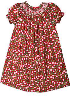 Hand Smocked Geometric Red & Green Polkadots Girl's Bishop Dress